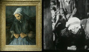 "(l) Cézanne, ""Old Woman with a Rosary"", 1896, National Gallery of London. (r) Still from Renoir film, <em>Madame Bovary</em>, 1933."