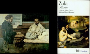 "(l) Cézanne, ""Paul Alexis Reading to Emile Zola"", 1869-70, Museu de Arte, Sao Paola. (r) Zola's novel, <em>L'Œuvre</em>, first published in 1886."
