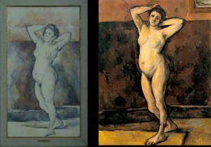 """(l) Cézanne, """"Standing Nude"""", 1898-99, Louvre. (r) Cézanne, """"Standing Nude"""", 1898-99, Private Collection."""
