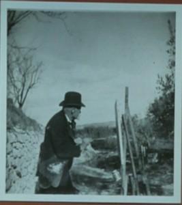 Cézanne painting at Les Lauves, 1906. Photo Emile Bernard.