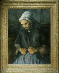 "Cézanne, ""Old Woman with a Rosary"", 1896, National Gallery of London."